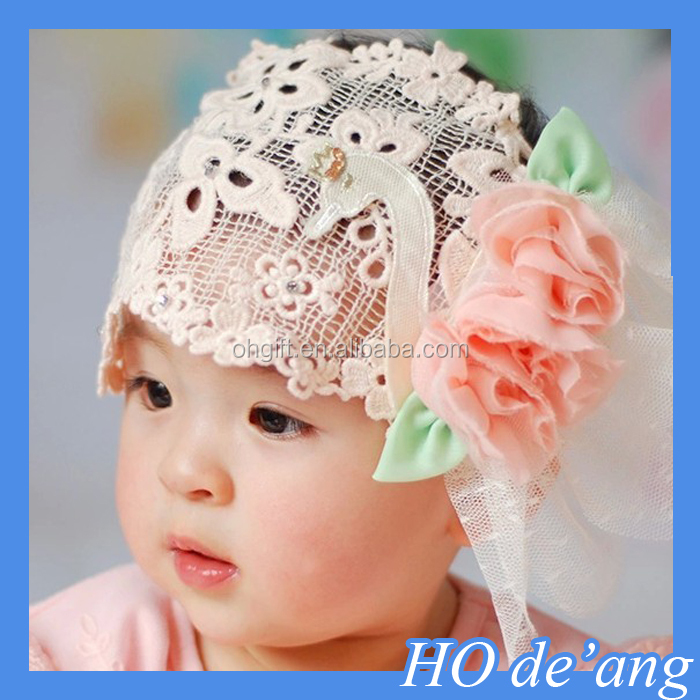 HOGIFT Fashion Hair Accessory, Lovely Lace Flower Knitting Baby Hair Band