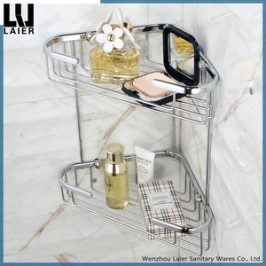 Brass Material Wall Mounted Bathroom Shower Cosmetic Caddy Corner Basket Shelf