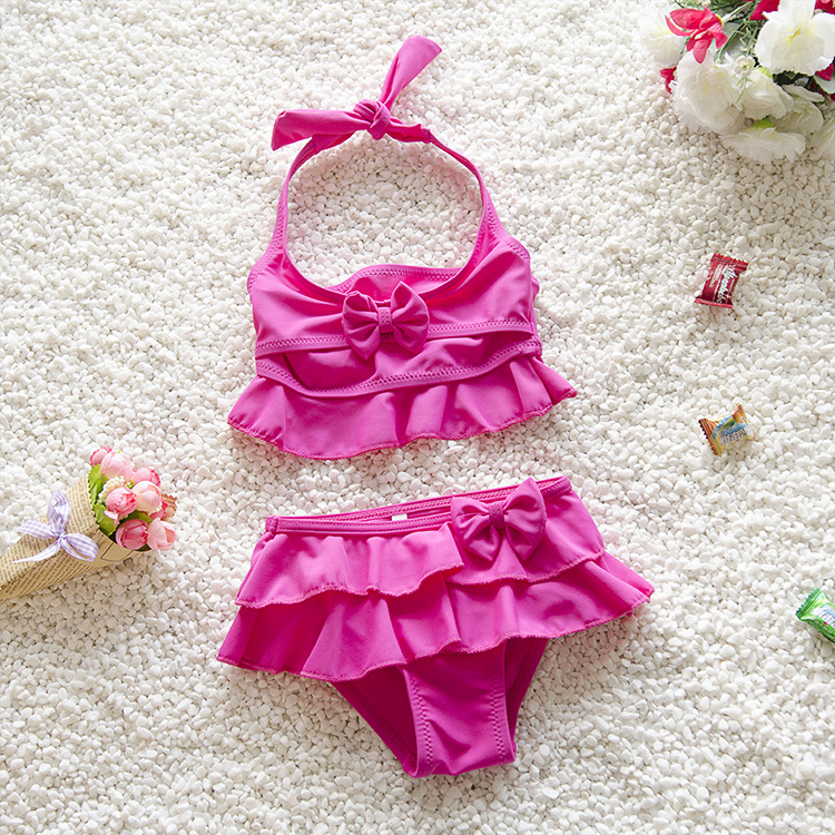 Kids Ruffle Bowknot Bathing Suit Girls Ruffled Swimsuit Girl Two Piece Bikini Swimsuit