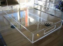 Best Design Rectangular Acrylic Tray With Handle Lucite Serving Tray For Hotel