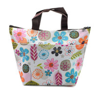 Enrich Waterproof Picnic Lunch cooler Bag Tote Insulated Cooler Travel Zipper Organizer Box,flower