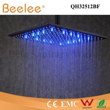 12 inch self powered led shower head square matte black bathroom rainfall top shower head