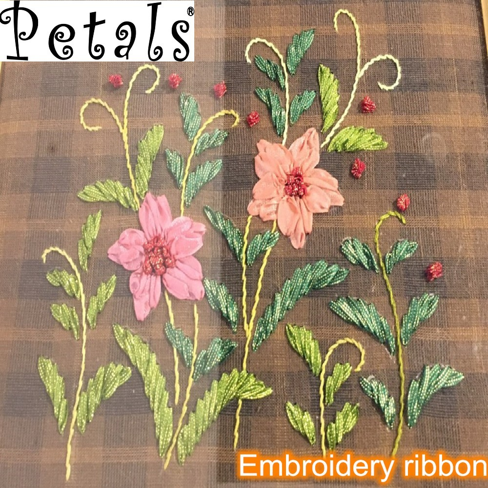 Petals silk fabric ribbon embroidery for perfume