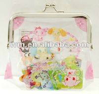 Beautiful design PVC plastic coin purse with metal frame