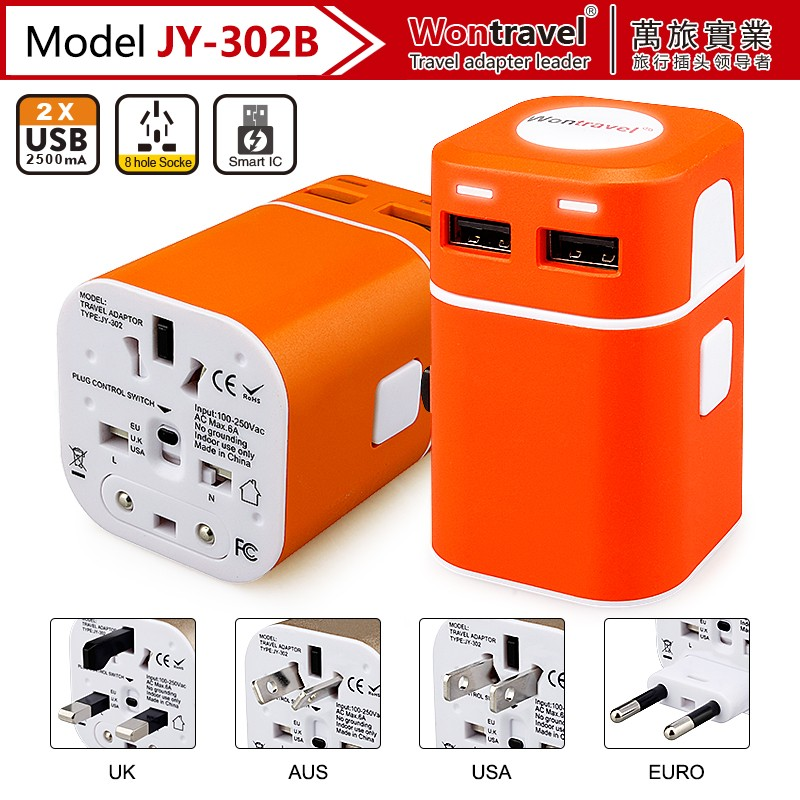 High quality All in one EU USA AU UK travel plug World Travel USB Power Adapter