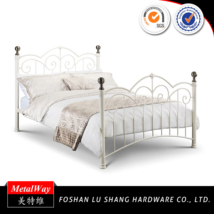 Factory price platform single youth white antique metal bed