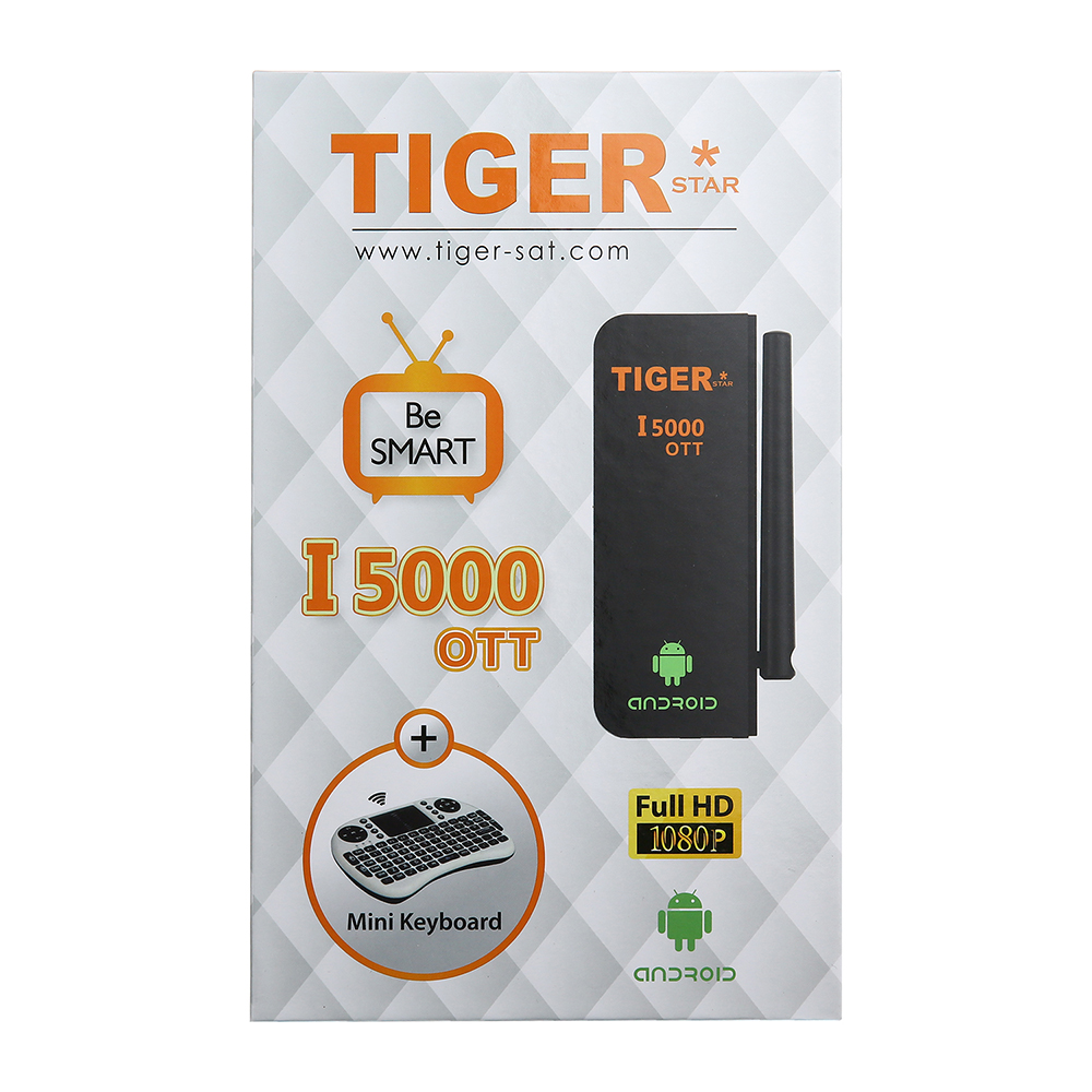 New product Tiger I5000 OTT satellite receiver andriod tv box support iptv with mini keyboard
