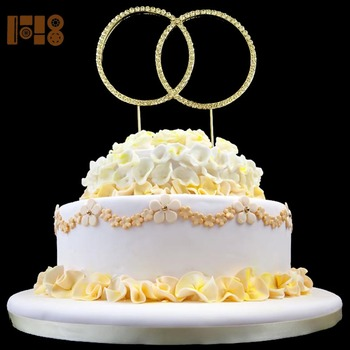 High quality double rings crystal rhinestone cake toppers for wedding souvenirs