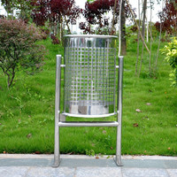 Outdoor stainless steel recycling waste bin