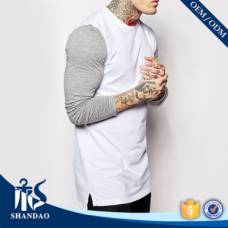 guangzhou shandao autumn men white o-neck long sleeve 180g 60 cotton 40 polyester custom cheap blank mens longline t shirt