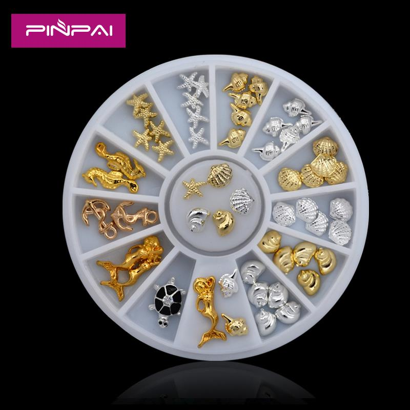 charm fashion design mixed 3D alloy nail art studs in wheel