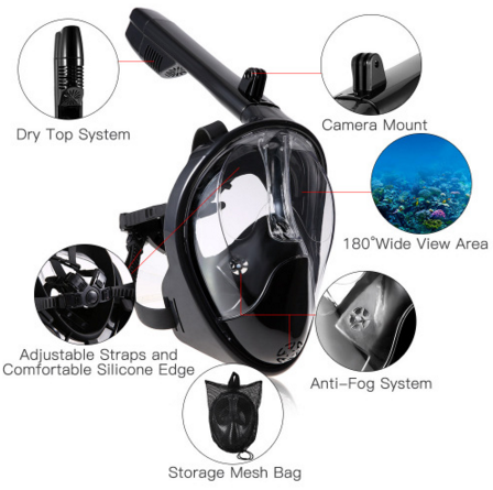 Full face snorkel diving mask for diving swimming with PATENT