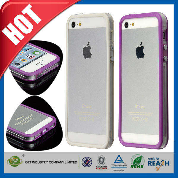C&T Solid color hard pc soft tpu bumper case for iphone5 5s 5g