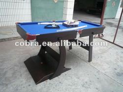 6ft Black Foldable legs Pool Table with blue cloth