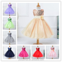 Newest Korean Style Girls Wedding Dress Sequins Net Yarn Princess Party Dress For Kids Wear