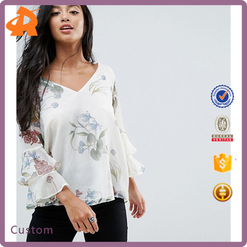 custom make long sleeve casual loose chiffon blouse,chiffon flower blouse for girls