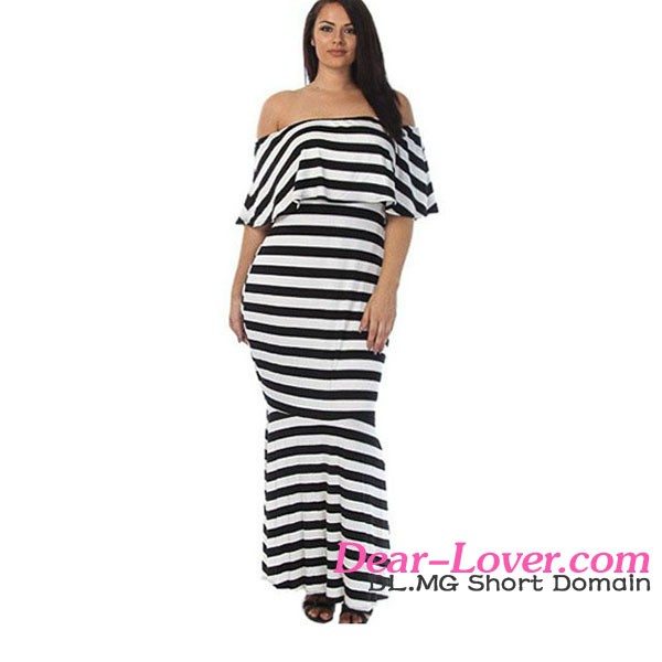 Women Cloth 2016 Latest Fashion Striped Ruffle Tube Plus Size Maxi Dresses