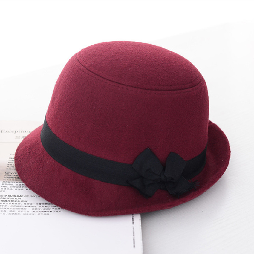 2015 Newest Women Fedoras Lady Cute Fashion Trendy Vintage Wool Felt Bowler Fedoras Hats Solid Bow Candy Colors Fedora Cap