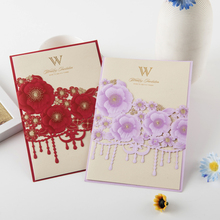 New design flower with hot gold stample simple laser cut wedding invitations paper
