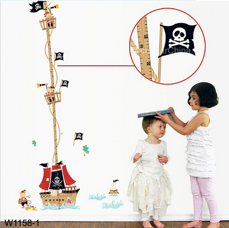 Pirate Ship Kids height measuring Wall Stickers Boy Girl Growth Chart