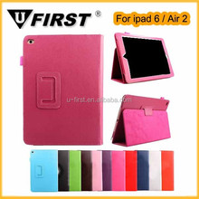 For ipad 6 holder flip folding PU leather case. for iPad air 2 with stand case