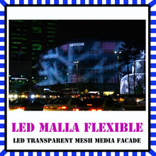 Led transparent mesh media facade para cortina de pantalla de exterior led display
