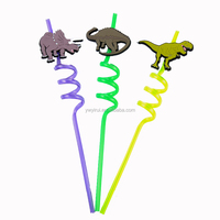 Factory wholesale dinosaur reusable fancy hard plastic drinking straw