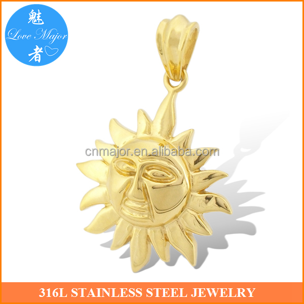 Gold sun pendant thomas style fashion jewerly with gold plated custom pendant jewelry MJKP-143