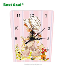 Shabby chic colorful decoration wooden desk clock indoor clock