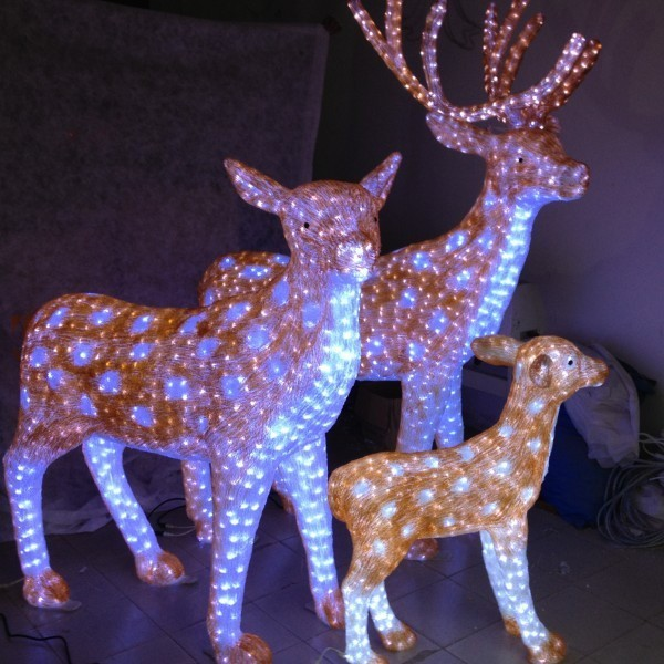 Custom outdoor decoration light animal shaped 3d led for Outdoor reindeer decorations