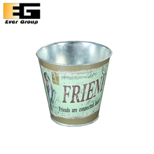 Eco-friendly Stickers Metal Pail Flower Pot Recyclable
