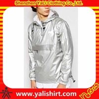 Good quality oem bulk designer 100%polyester waterproof shiny silver lightweight windbreaker jackets
