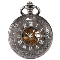 Antique Transparent Skeleton Necklace Mechanical Pocket Watch