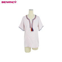 OEM Embroidery Neck Design Ethnic Kurta Retro Tassel Women Blouse &Tops