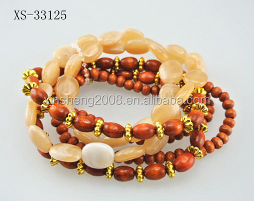 2016 ethnic series personality Tibet rose aurora and wood beads bracelets jewelry