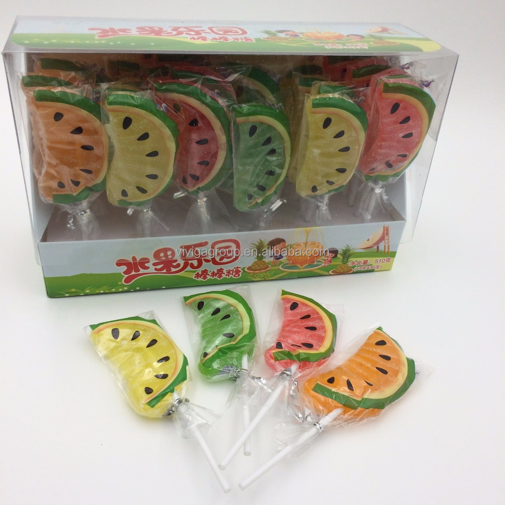 Soft candy lollipop watermelon shaped lollipop stick fruit candy