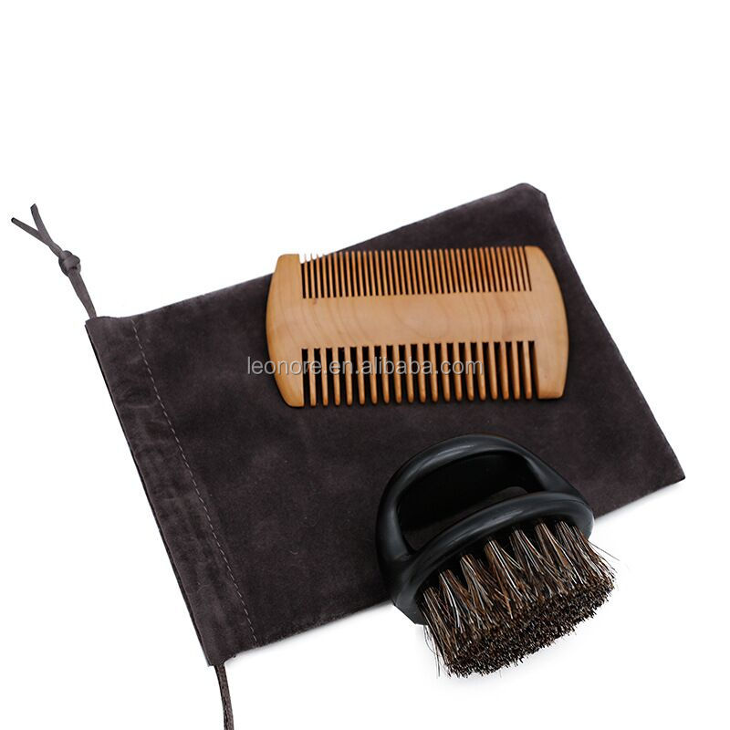 High Quality Natural Men's Wooden Beard brush and comb set