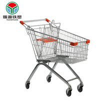 100L Convenient hand push supermarket foldable trolley shopping cart