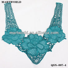 2014 new design blue cotton match PU leather embroidery neck designs for ladies suit(QSN-007-4)