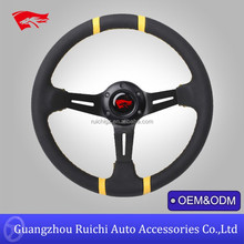 Yellow Stitch Black Steering Wheel for Racing Car Black Center Spoke 345mm