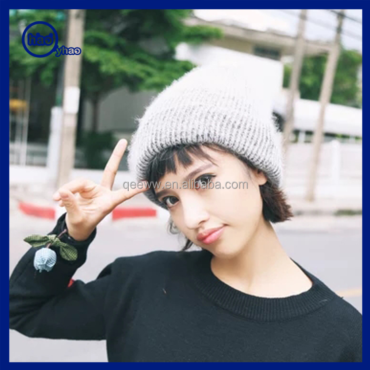 Wholesale new 100% wool custom no logo embroidered beanie/fashion free knitted beanie hat pattern