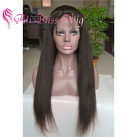 Cheap Mongolian Italian Yaki Kinky Straight High Ponytail Virgin Human Hair Full Lace Wigs with Baby Hair for Black Women