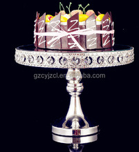 wedding cake stand sparkling in silver trim with diamond luxury design