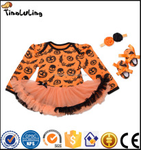 3pcs Infant Toddler Baby Halloween Onesie Romper+ Tutu Dress Clothing Set