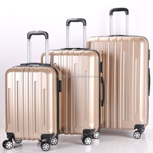 Swiss Case TSA lock 4 Wheel Spinner ABS PC 3 Piece Luggage Set GOLDEN Hardside Suitcase