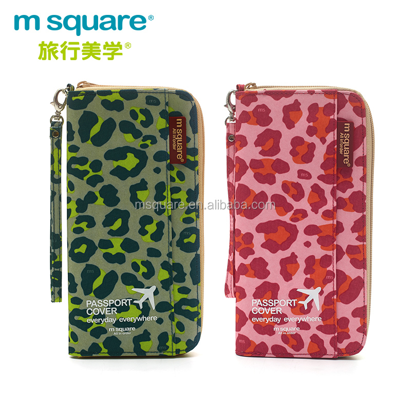 Airline travel msquare ticket cash wallet passport holder with hand strap