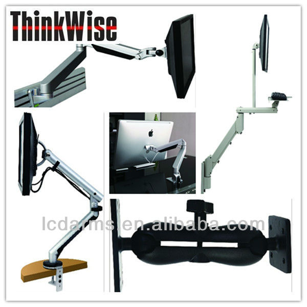 Ergonomic OEM LCD desktop/laptop/TV/projector/flat display arm support/mounting/bracket/stand with Clamp/Thru hole/Magnetic
