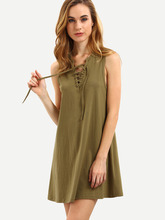 Dresses latest women girl design fashion photos Army Green Sleeveless Lace Up Vest Dress