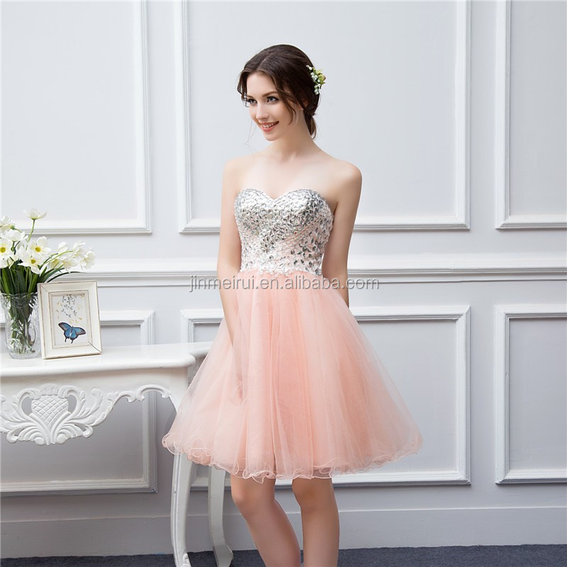 Short Coral Bridesmaid Dresses Beaded Applique Soft Tulle Vestidos De Brides Maid of Honor Dresses Real Photo
