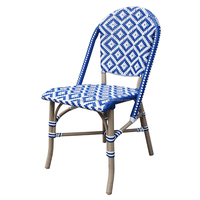 Blue Color Rattan Hotel Dining Chair with Modern Weaving Pattern